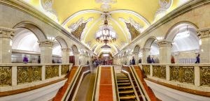 Panoramic view of escalator at the Komsomolskaya metro station of the Koltsevaya Line (Circle Line), Moscow, Russia. The station is noted for its being located under the busiest Moscow transport hub, Komsomolskaya Square, which serves Leningradsky, Yaroslavsky and Kazansky railway terminals. Because of that the station is one of the busiest in the whole system and is the most loaded one on the line.