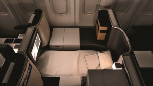 Swiss Business class cabin lie flat bed