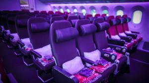 Virgin Atlantic Boeing 787-9 Dreamliner Economy purple cabin mood lighting