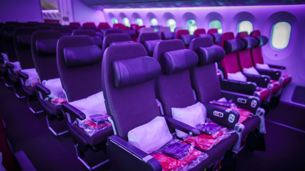 Virgin Atlantic Boeing 787-9 Dreamliner Economy purple cabin mood lighting