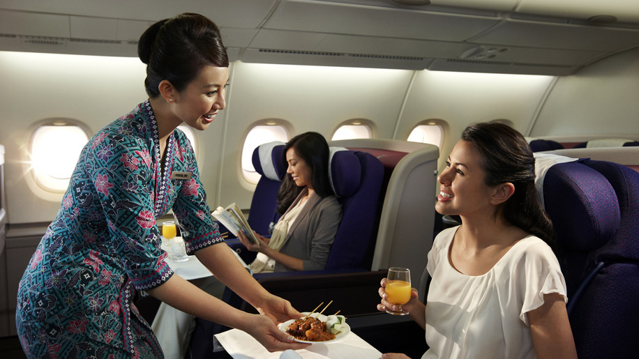 Business class dining on Malaysia Airlines A380
