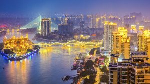 Fuzhou, cityscape on the Min River, Fujian province, China