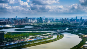 Aerial view of Fenghua River, Ningbo city, Zhejiang Province, China