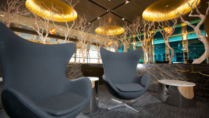 United Club lounge wing chairs at London Heathrow Terminal 2