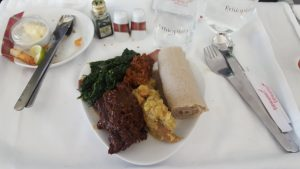 Ethiopian Airlines business class Cloud 9 main course