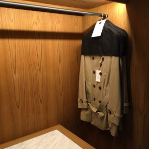 Burberry macs in Grand Terrace suite at the Berkeley hotel
