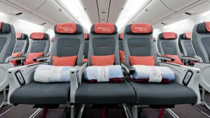 Austrian Airlines Economy Class seats 3-2-3 config