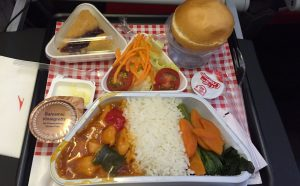 Austrian Airlines B777-200 economy class meal HK-Vienna