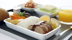 Teochew Style Braised Duck with Egg and Beancurd served with Stewed Salted Vegetables and Steamed Rice in Singapore Airlines' premium economy and economy