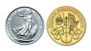 1oz gold and silver coins