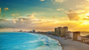 Panoramic View of Sunset at the Hotel District, Cancun Mexico