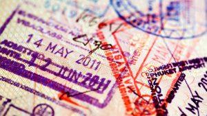 Various stamps inside passport
