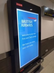 Welcome display for the British Airways lounges at Gatwick's South Terminal