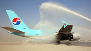 Korean Air A380 arriving at Dubai World Central