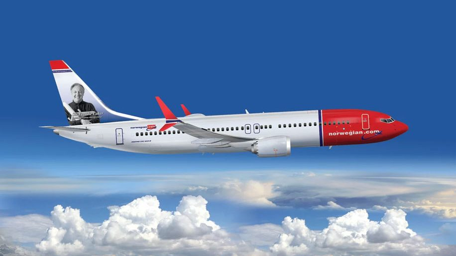 Norwegian B737 Max with Sir Freddie Laker tail fin