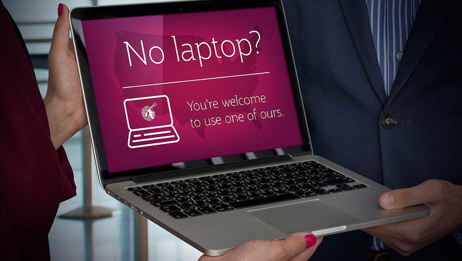 Qatar Airways laptop loan service poster