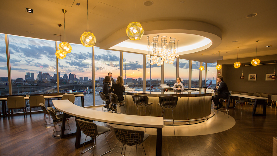 BOSTON, USA: View towards the Boston skyline from the bar in the new British Airways lounge at Boston Logan International Airport on 21 March 2017 (Picture by Nick Morrish)