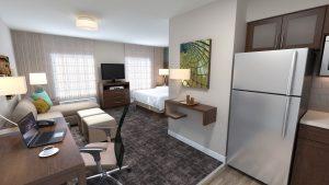 Rendering of Staybridge Suites updated design
