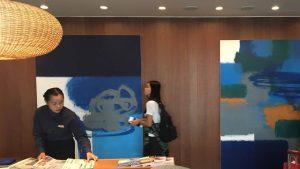 Cathay Pacific first and business class lounge Bangkok Suvarnabhumi Airport artwork