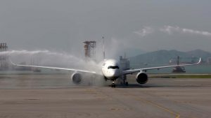 Lufthansa Airlines welcomes the arrival of its first A350 in Hong Kong with water cannon