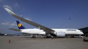 Lufthansa Airlines first A350 in Hong Kong