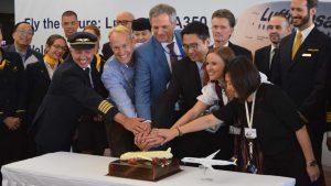 Lufthansa A350 HK cut cake