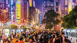 Nanjing shoppping street in Shanghai, China at night