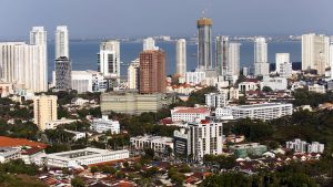 View of cityscape skyline of Georgetown, Penang, Malaysia.