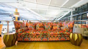 British Airways Concorde Room revamp Colourful-sofa