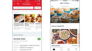 Screenshots of Zomato and UberEATS