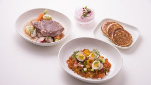 Finnair 100th anniversary in-flight menu with Finds restaurant in Hong Kong