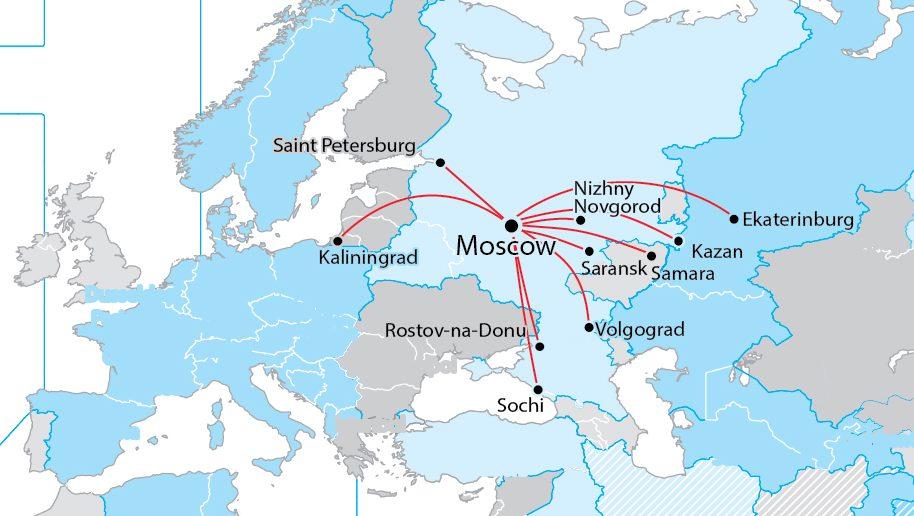 Aeroflot Map Business Traveller The Leading Magazine For - Saransk map