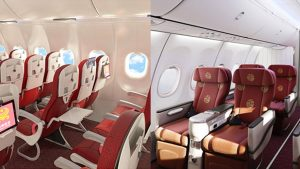 Hainan Airlines' B737 Max 8 economy (left) and business (right) classes