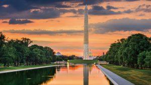 Washington Monument on the Reflecting Pool in Washington, DC.