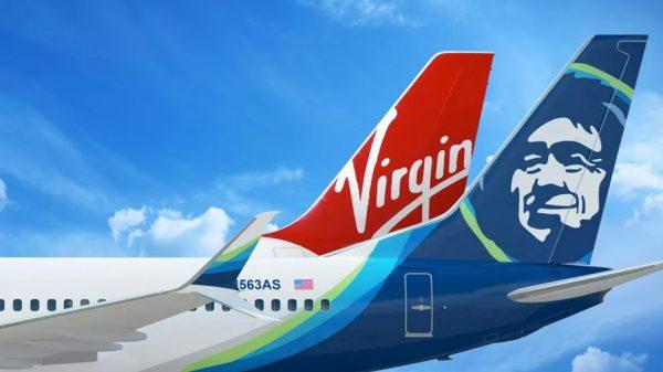 Alaska Airlines and Virgin America tailfins