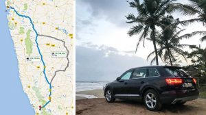 Google Maps representation of the drive between Mumbai and Goa; and the Audi Q7 parked at a beach in Goa