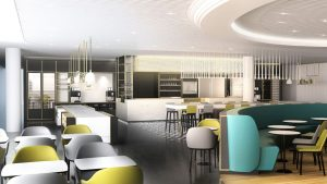 Air France lounge show CGI kitchen