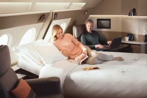 Singapore Airlines new First Class Suites on the A380 - the bed