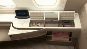 The storage on the new First Class Suites on Singapore Airlines First Class Suites on the A380