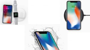 The iPhone X alongside the Apple Watch and AirPods, water resistance and wireless charging features of the phone