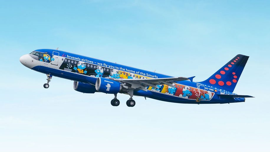 Brussels Airlines' Aerosmurf aircraft