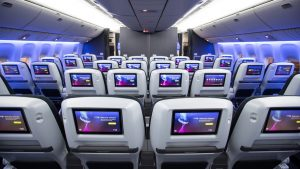 World Traveller Plus seating on BAs revamped Gatwick-based B777 aircraft