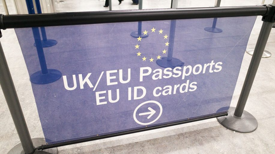 EU and UK Passport Control Signage at London Gatwick Airport (iStock)