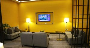 Singapore Airlines First Class Lounge at Heathrow TV-area