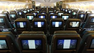 Cathay Pacific B777 economy class 10-across seating