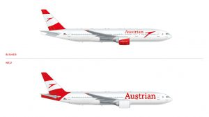The current and new Austrian logo as it will appear on aircraft