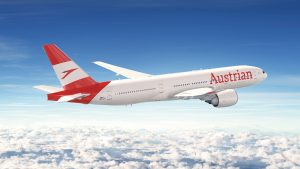 A rendering of the new Austrian logo on a B777 aircraft