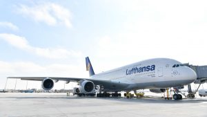 Lufthansa A380 at Munich airport