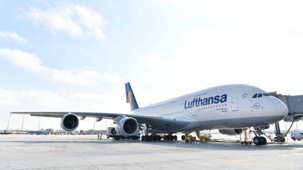 Lufthansa A380 at Munich airport