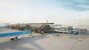 Rendering of new pier at Amsterdam Schiphol